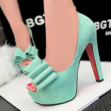 Thick Ultra High Waterproof Suede Fish Mouth Big Bowknot Single Shoe Heels