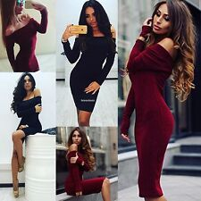 Sexy Strapless Package Hip Long Sleeve Bodycon Dress Women's Party Pencil Dress