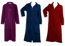 Slenderella Ladies Anti Pill Zip Up Dressing Gown Soft Polar Fleece Bath Robe