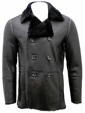Men's Black Double Breasted Real Sheepskin Pea Coat