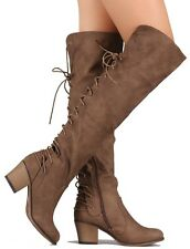 Taupe Suede Over the Knee Riding Corset Boots Block Heels Women's shoes Dallas