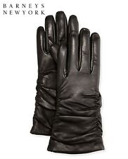 Barneys New York Grandoe Womens Tech Ruched Cashmere Lined Soft Leather Gloves