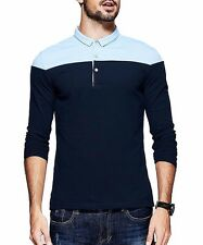 M L XL XXL Mens Cotton  Fitted Polo shirt Lapel Long  Sleeve Splicing T-shirt