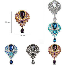 Vogue Women Flower Drop Pendant Rhinestone Crystal Gold Plated Charms Brooch Pin