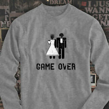Game Over Marriage Funny Meme Humor Mens Gray Long Sleeve T-Shirt