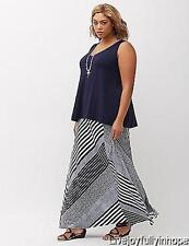 LANE BRYANT ~NWT NEW! Plus 22 24 26 28 ~ DIIAGONAL STRIPED Flowy Knit MAXI Skirt