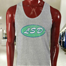 VINTAGE LSD DECAL CULT ACID PSYCHEDELIC SIMPLE Mens Gray Tank Top