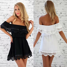 Women Sexy Backless Off Shoulder Night Club Cocktail Party Lace Mini Dress S-XXL