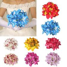 Artificial Silk Butterfly Orchid Bridal Bridesmaid Flower Girl Bouquet 8 Colors