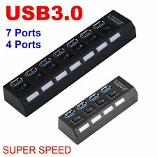 High Speed 4/7Ports USB 3.0 Hub Adapter Splitter + On/Off Switch For PC Laptop