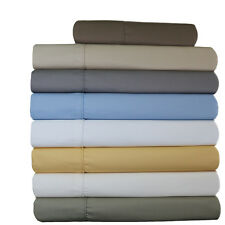 Full Size 4-PC Wrinkle-Free 650 TC Solid Combed Cotton Blend Sheet Sets