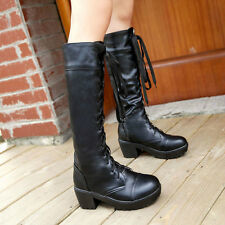 Women's Faux Leather Mid Calf Knee High Leg Riding Boots Punk Goth Combat boots