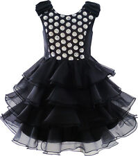 Girls Dress Ruffles Tulle Tiered Dress Sequin Party Birthday Princess Size 4-12