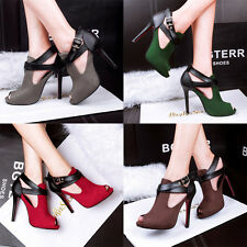 Sexy Peep-toe Strap Buckle High Heels Snadals Faux Suede Hollow Out  Women Shoes