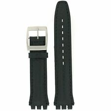 Watch Band to Fit Swatch Black Italian Leather Strap 17mm 19mm