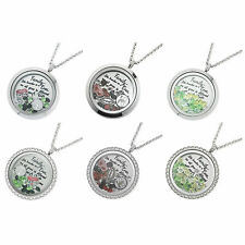 1x Stainless Steel Family Tree Floating Locket Crystals Charm Necklace Pendant