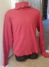 NEW LOVELY GIRLS TOP DARK PINK FRILL POLO TOP LONG SLEEVES 7 - 8 OR 9 -10 YEARS