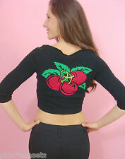 Betsey Johnson Red Cherry Intarsia Cropped Black Cardigan Sweater S M