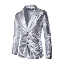 Mens Coat Two Button Casual Stand Collar Coat Wash gold Short Suit Jacket