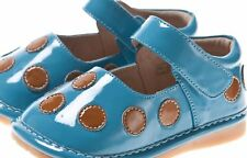 Discontinued Toddler Girl's Leather Squeaky Shoes Teal with Brown Dots