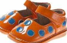 Discontinued Toddler Girl's Leather Squeaky Shoes Orange Patent with Blue Dots