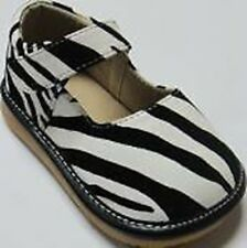Discontinued Toddler Girl's Leather Mary Jane Zebra Print Squeaky Shoes