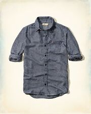 NWT Hollister by Abercrombie&Fitch Mens Plaid Flannel Shirt Blue 100% Cotton