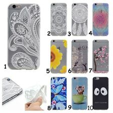 Rubber Floral Silicone Clear Soft TPU Back Cover Case For Samsung Galaxy Series