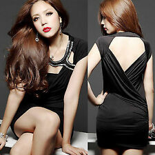 Sexy Charming Lady Super Mini Dress Black Deep V-shaped Hollow Party Ruched 6361