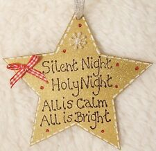 HANDMADE PERSONALISED CHRISTMAS TREE DECORATION GOLD RED GLITTER STAR HOME GIFT