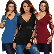Sexy Womens Blouse Loose T Shirt Pullover Long Sleeve Shirt V Neck Tops Tee Z6Q4