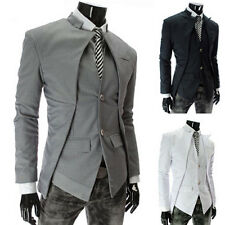 JYUS Mens M-2XL Muscle Slim Fit Double Collar 2 Button Jacket Coat Outwear
