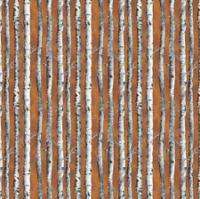Northwoods Fabric Birch Trees Brown by Kathy Hall for Andover Premium Cotton