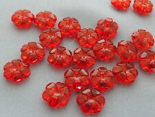 10mm 60/100/../500pcs CLEAR DARK RED ACRYLIC PLASTIC FLOWER BEADS TY05573