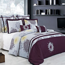 King/Calking Embroidered Print Fifi 7PC 100% Cotton Super-Soft Duvet Cover Set
