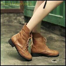 Womens PU Leather Carved Cuffed Ankle Boots Lace Up Round Toe Block Riding Shoes