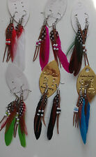 Colourful Handmade Feather With Beads Long Eardrop Dangle Earrings