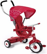 Radio Flyer 4 In 1 Trike Red Sturdy Steel Frame Comfortable Headrest 49 Lbs