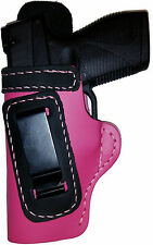 PINK w/BLACK IWB Leather Gun Holster YOUR CHOICE:rh,lh-laser-slide-cant-belt-mag