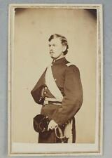 CDV OF AN IDENTIFIED  VERMONT OFFICER AMPUTEE WITH HAT, SWORD, & CORPS BADGE