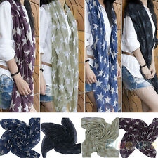 Women Lady Soft Scarves Star Print Long Voile Scarf Shawl Wrap Gifts Charm