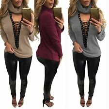 Sexy Women Low Cut V Neck Chocker Ribbed Knit Jumper Sweater Lace-up Tops Shirt