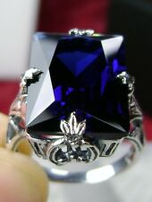 10ct *Sapphire* Sterling Silver 1930s Art Deco Design Filigree Ring Size Any/MTO