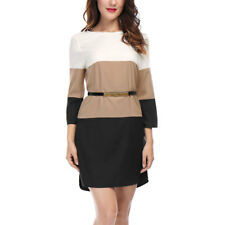 Allegra K Women 3/4 Sleeves Color Block Above Knee Belted Shift Dress