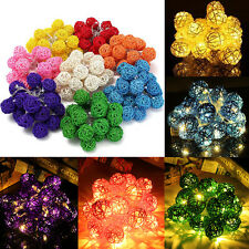 20 LED Battery Rattan Ball String Lights Home Garden Fairy Lamp Wedding Party