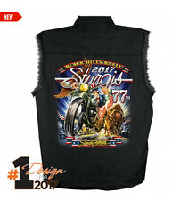 2017 Sturgis Motorcycle Rally Uncle Sam Racer black Sleeveless Denim Shirt
