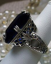 30ct*Blue Sapphire* Art Deco 1930s Sterling Silver Filigree Ring {Made To Order}