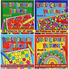 ADULT & CHILDRENS LARGE 66 PAGE DOODLE THERAPY COLOURING BOOKS ART PATTERNS 3075