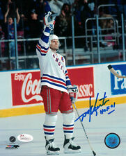"MIKE GARTNER AUTOGRAPHED/SIGNED NEW YORK RANGERS 8X10 PHOTO ""HOF"" 19063 JSA"