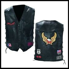 vest leather biker Eagle / Route 66 - NEW [ M L XL 2XL 3XL 4XL ] leather vest